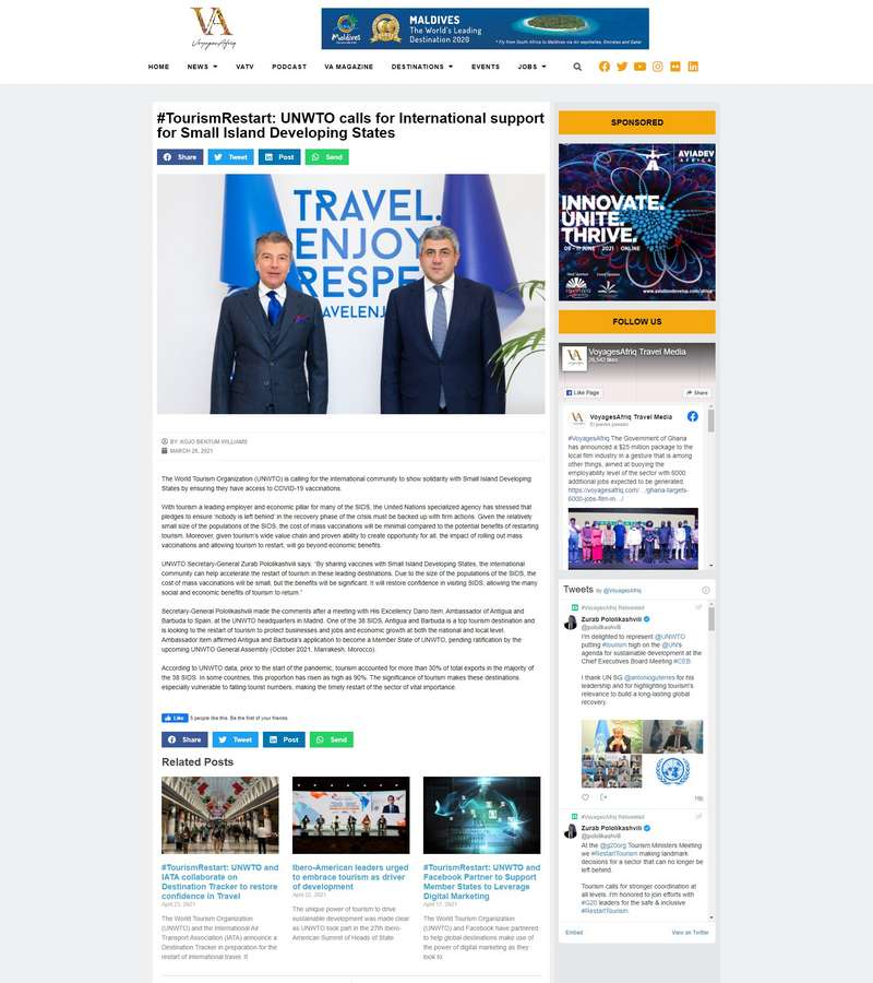 #TourismRestart: UNWTO calls for International support for Small Island Developing States